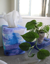 Load image into Gallery viewer, Square tissue box cover holder blue watercolour by MIMI Handmade Baskets, Australia