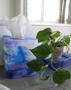 Square tissue box cover holder blue watercolour by MIMI Handmade Baskets, Australia