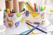 Load image into Gallery viewer, Fun storage baskets for kids - CRAZY OWLS - Handmade on the Central Coast, NSW Australia by MIMI Handmade.