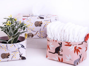 WILDLIFE FRIENDS baskets and tissue box covers by MIMI Handmade Baskets, NSW Australia