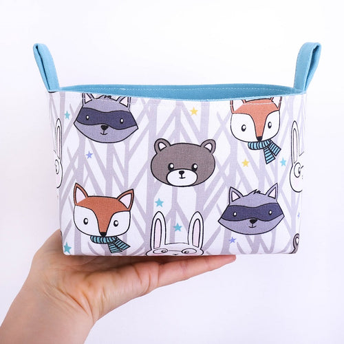 Woodland animal storage baskets to organise your nursery. WOODLAND FRIENDS - fox, rabbit, bear, raccoon. Handmade on the Central Coast, NSW Australia by MIMI Handmade.