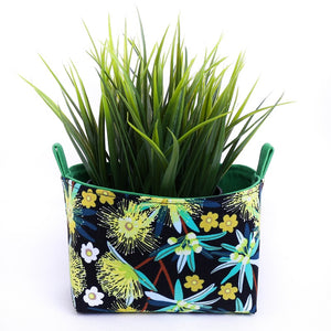 YELLOW FLOWERING GUM - Small Green & Yellow Australiana Storage Basket