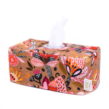 Load image into Gallery viewer, australiana-fabric-tissue-box-cover-featuring-orange-protea-flowers-hand-made-in-Australia-by-MIMI-Handmade
