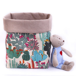 beige canvas fabric toy storage basket with cactus pattern