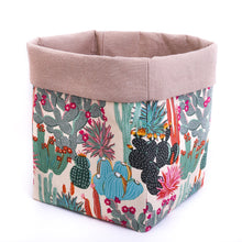 Load image into Gallery viewer, beige fabric storage basket or pot plant cover handmade with cactus print