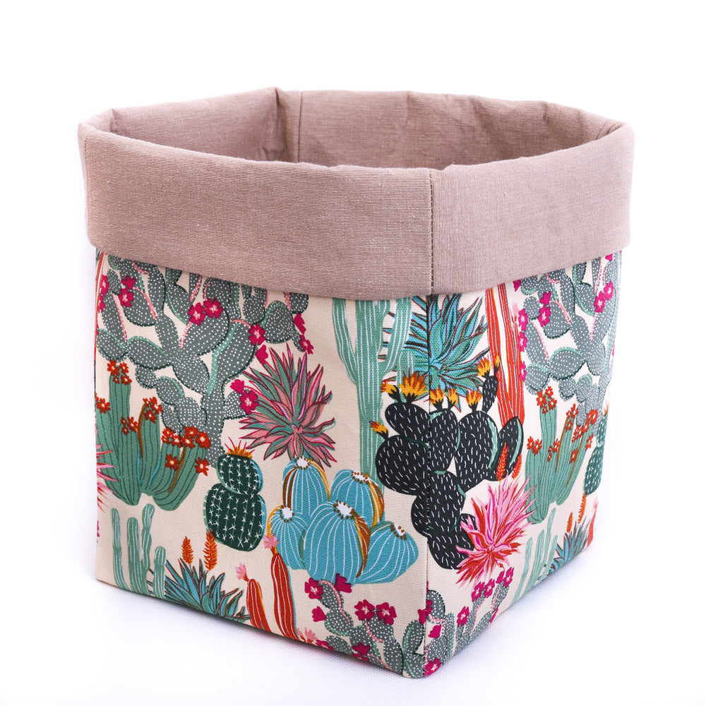beige fabric storage basket or pot plant cover handmade with cactus print