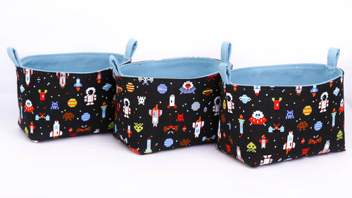 storage baskets for boys space astronaut rocket decor by MIMI Handmade Baskets, Australia