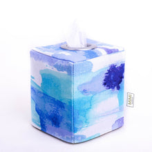 Load image into Gallery viewer, blue ocean coastal decor watercolour modern tissue box holder by MIMI Handmade Baskets