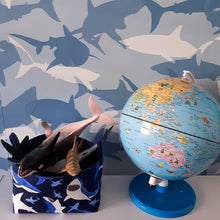 Load image into Gallery viewer, blue shark toy basket wallpaper globe | MIMI Handmade Baskets NSW Australia