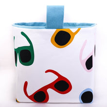 Load image into Gallery viewer, blue sunnies cube storage basket made with colourful sunglasses fabric pattern, fun storage solutions hand made in Australia by MIMI Handmade Baskets