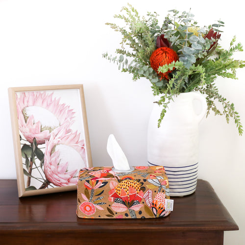 burnt-orange-protea-tissue-box-cover-handmade-in-Australia-by-MIMI-Handmade-next-to-native-flowers-print-and-bouquet