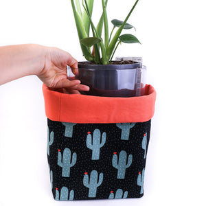 cactus plant pot cover planter with clear pot and indoor monstera plant