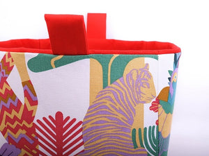 closeup of red tropical jungle tiger storage basket for cube shelves, made in Australia by MIMI Handmade Baskets