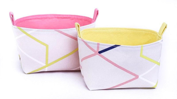 ORIGAMI - Set of 2 Neutral Storage Baskets (pink or yellow)