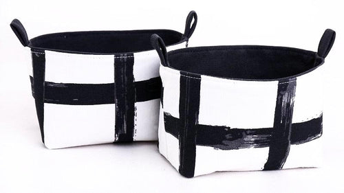 Set of 2 Small MONOCHROME GRID Baskets