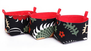 FOLKLORE - Set of 3 Black & Red Floral Storage Baskets