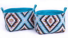 Load image into Gallery viewer, Fun storage baskets to organise your home. BLUE AZTEC GEOMETRIC Handmade on the Central Coast, NSW Australia by MIMI Handmade.