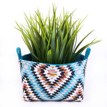 Load image into Gallery viewer, Stylish & practical storage baskets to organise your home. BLUE AZTEC GEOMETRIC Handmade on the Central Coast, NSW Australia by MIMI Handmade.