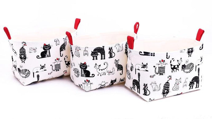 MEOW - Set of 3 Small Black & White Cat Storage Baskets