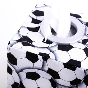detail of black and white football soccer ball square tissue box cover, hand made in Australia by MIMI Handmade Baskets