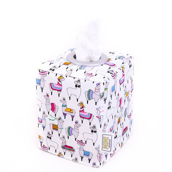 dressed up llama tissue box cover - modern tissue holder for kids -llama party home decor