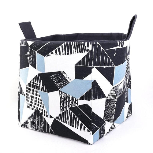 Fun large storage basket to organise your home. BLUE BLACK BRAQUE GEOMETRIC Handmade on the Central Coast, NSW Australia by MIMI Handmade.