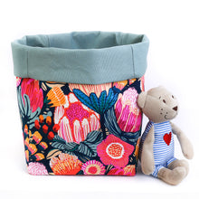 Load image into Gallery viewer, floral pink toy storage basket for cube storage unit in modern Australiana Nursery, Australiana textile homewares, hand made by MIMI Handmade Baskets