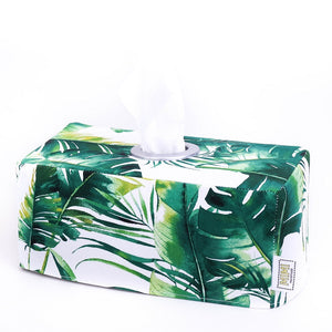 green monstera palm leaf tissue box cover tropical home decor handmade in Australia by MIMI Handmade Baskets