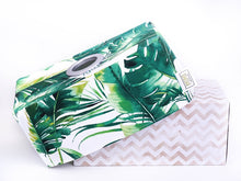 Load image into Gallery viewer, green monstera palm leaf tissue box cover tropical home decor made in Australia by MIMI Handmade Baskets