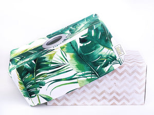 green monstera palm leaf tissue box cover tropical home decor made in Australia by MIMI Handmade Baskets