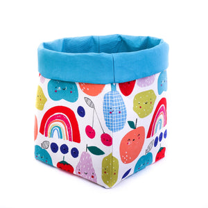 blue foldable storage baskets  - happy fruits - canvas storage basket