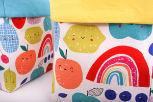happy fruits - yellow canvas storage basket