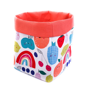 orange foldable storage baskets  - happy fruits - canvas storage basket