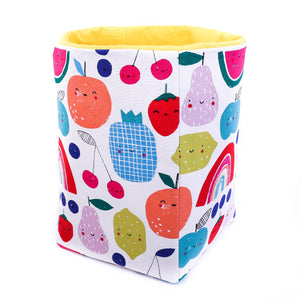 yellow foldable storage baskets  - happy fruits - canvas storage basket for kids