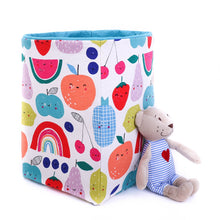 Load image into Gallery viewer, blue foldable storage baskets  - happy fruits - canvas storage basket for toys