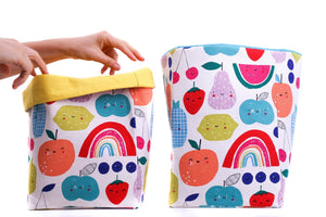 foldable storage baskets  - happy fruits - canvas storage basket