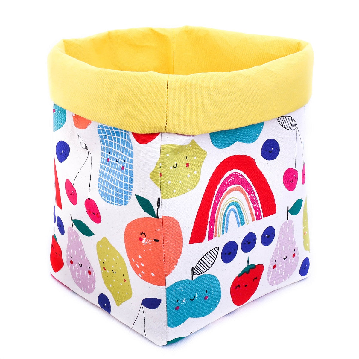 yellow foldable storage baskets  - happy fruits - canvas storage basket