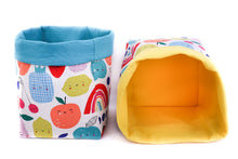 Load image into Gallery viewer, blue and yellow reversible storage baskets  - happy fruits - canvas storage basket