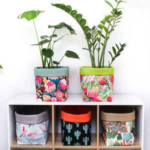 large square fabric plant pot covers and reversible storage baskets for cube shelving unit like kallax