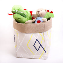 Load image into Gallery viewer, large reversible baskets by MIMI Handmade Baskets cream beige geometric pattern tidy up soft toy storage bin