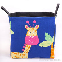 Load image into Gallery viewer, large cube storage basket for kallax in blue with giraffe print, safari nursery toy storage for kids, fabric storage baskets by MIMI Handmade Baskets, Australia