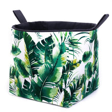 Load image into Gallery viewer, large green monstera and palm leaf storage cube basket, hand made in Australia by MIMI Handmade Baskets