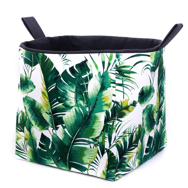 large green monstera and palm leaf storage cube basket, hand made in Australia by MIMI Handmade Baskets