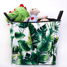 Load image into Gallery viewer, large green monstera and palm leaf toy storage cube basket, hand made in Australia by MIMI Handmade Baskets