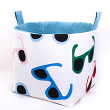 Load image into Gallery viewer, large multicoloured cube storage basket made with fun sunglasses fabric pattern, hand made in Australia by MIMI Handmade Baskets