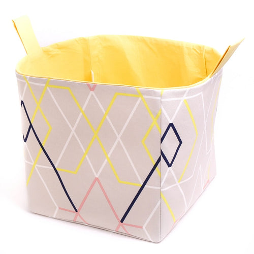 large yellow and beige geometrical square storage basket with handles for cube shelves, origami collection by MIMI Handmade Baskets, Australia