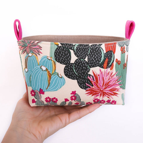 medium fabric storage basket for cactus lover, handmade in Australia by MIMI Handmade