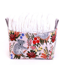 Load image into Gallery viewer, medium nappy fabric basket featuring joeys and native flowers for Australiana Nursery, hand made in Australia by MIMI Handmade Baskets