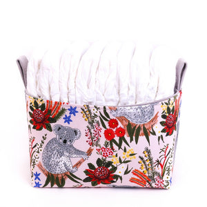 medium nappy fabric basket featuring joeys and native flowers for Australiana Nursery, hand made in Australia by MIMI Handmade Baskets