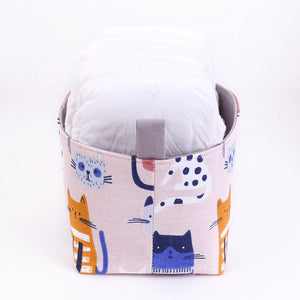 medium pink kawaii cat drawings decorative nappy storage basket, hand made in Australia by MIMI Handmade Baskets